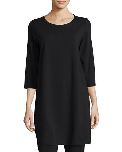 Eileen Fisher 3/4-Sleeve Organic Stretch-Jersey Tunic, Petite