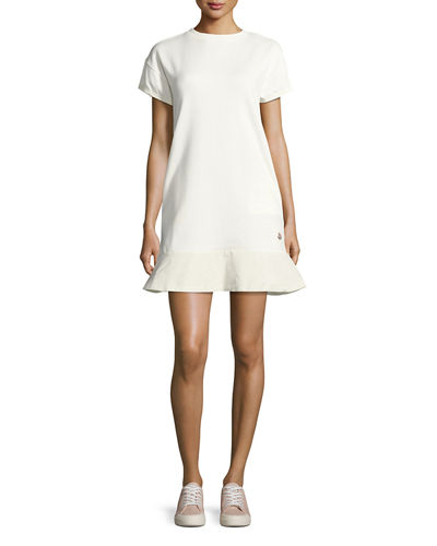 Moncler Short-Sleeve Cotton Jersey Shift Dress