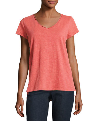Eileen Fisher Slubby Organic Cotton Jersey Tee, Plus