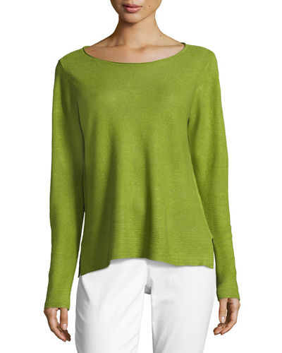 Organic Linen Knit Boat-Neck Top