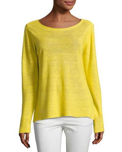 Organic Linen Knit Boat-Neck Top, Petite