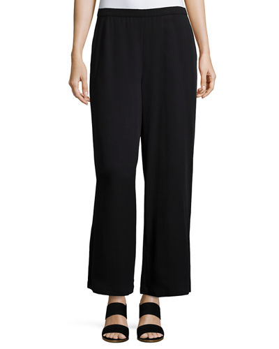 Eileen Fisher Woven Tencel® Wide-Leg Ankle Pants, Petite