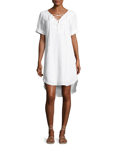 Sinclair Linen Lace-Up Dress