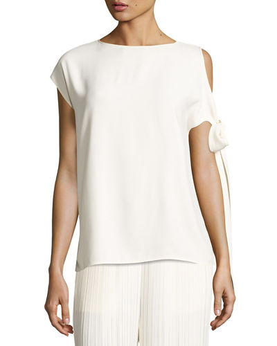 Short-Sleeve Crepe Tie-Shoulder Top