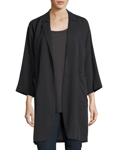 Woven Tencel® Grain Long Jacket