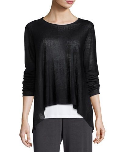 Eileen Fisher Organic Linen Knit Crepe Swing Top