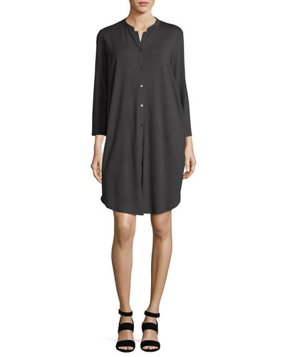 3/4-Sleeve Mandarin-Collar Jersey Shirtdress, Petite