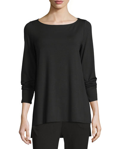 Eileen Fisher Bateau-Neck Stretch-Jersey Top