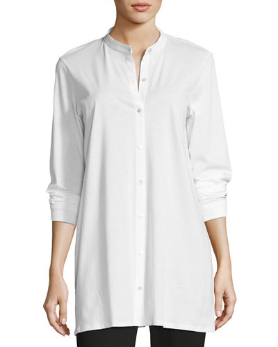 Eileen Fisher Mandarin-Collar Easy Organic Jersey Tunic