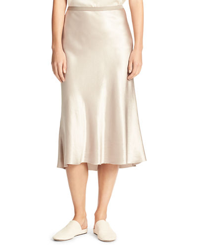 Satin Bias-Cut Slip Skirt