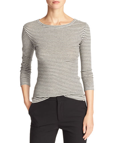 Heather Stripe 3/4-Sleeve Tee