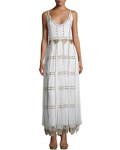 Sleeveless Studded Macramé & Chiffon Column Gown