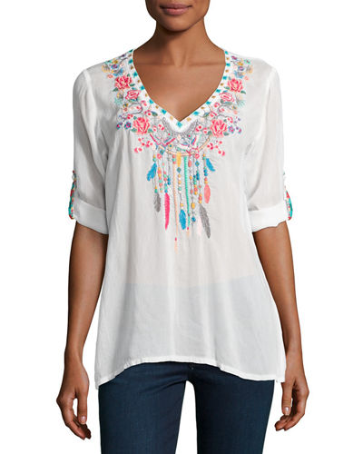 Butterfly Dreams Embroidered Blouse, Plus Size