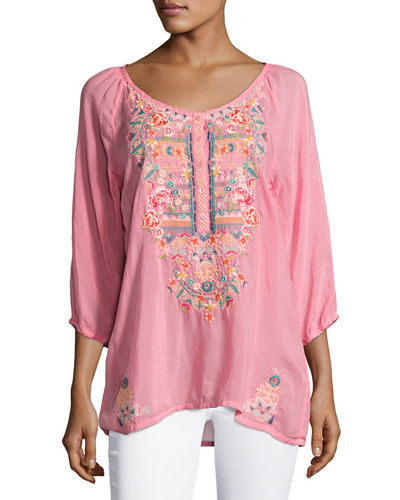 Linnet Embroidered 3/4-Sleeve Blouse, Plus Size