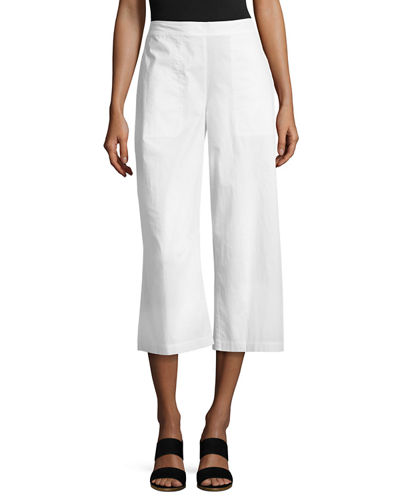 Eileen Fisher Organic Cotton Wide-Leg Cropped Pants