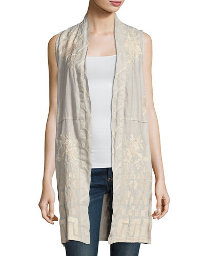 Letty Linen Embroidered Long Vest, Plus Size