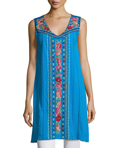 Rina V-Neck Embroidered Tunic, Plus Size