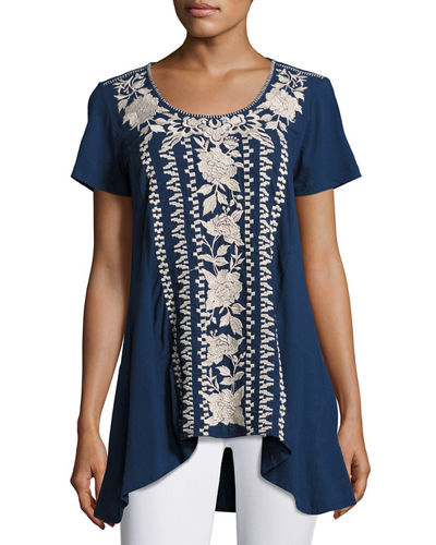 JWLA For Johnny Was Letty Embroidered-Panel Tunic, Plus