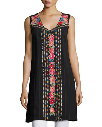 JWLA For Johnny Was Rina V-Neck Embroidered Tunic