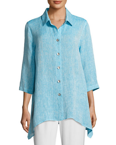 Caroline Rose Chambray Linen Side-Fall Shirt, Plus Size
