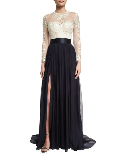 Catherine Deane Floral-Embroidered Chiffon-Skirt Gown