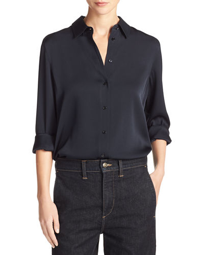 Slim-Fit Stretch-Silk Satin Blouse