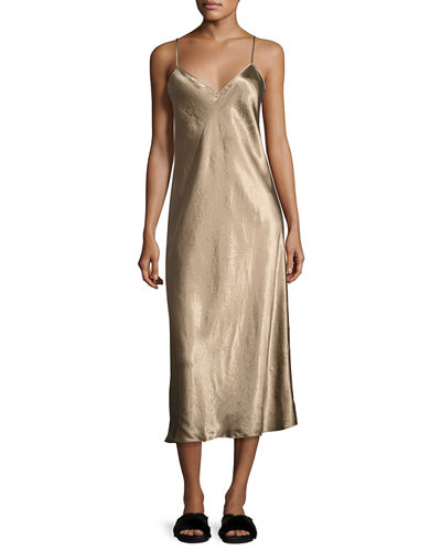 Bias-Cut Satin V-Neck Midi-Length Slip Dress
