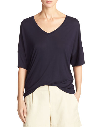 Drop-Shoulder V-Neck Jersey T-Shirt
