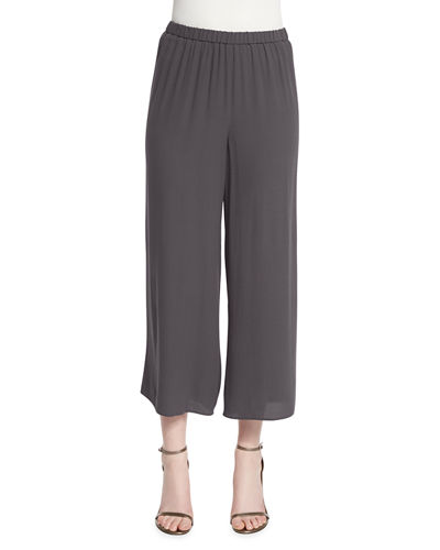 Wide-Leg Silk Georgette Cropped Pants, Plus Size