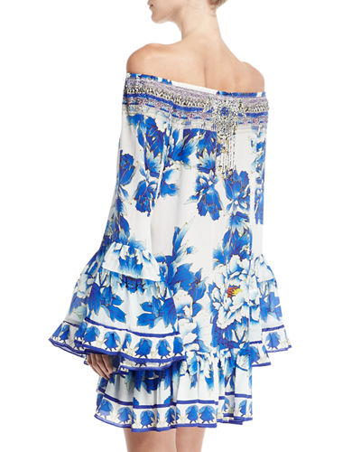 Embellished Silk Off-the-Shoulder Frill Dress