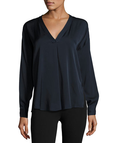 Crossover Silk-Blend Top