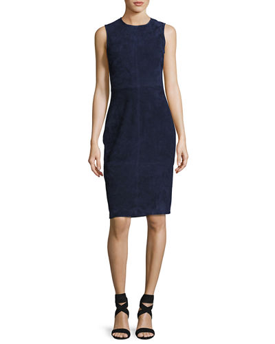 Eano L Stretch-Suede Sheath Dress