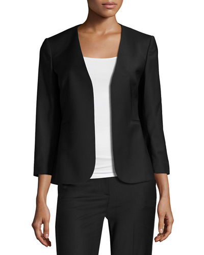 Lindrayia B Continuous Open-Front 3/4-Sleeve Blazer