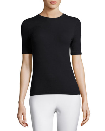Short-Sleeve Ribbed Stretch Jersey Tee