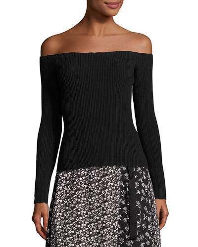Kari Ribbed Off-the-Shoulder Pullover