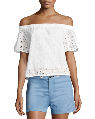 Flavia Eyelet Lace Off-the-Shoulder Short-Sleeve Top