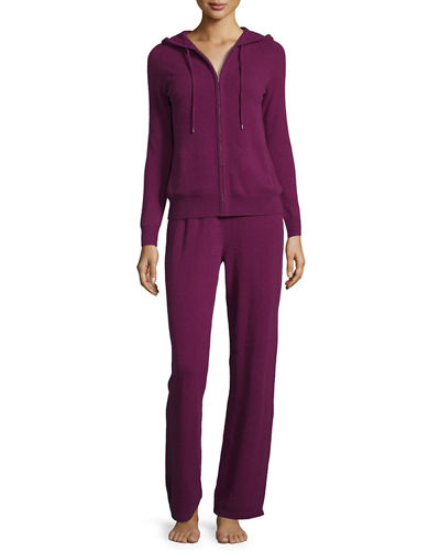 Neiman Marcus Cashmere Collection Cashmere Hooded Jogging Set
