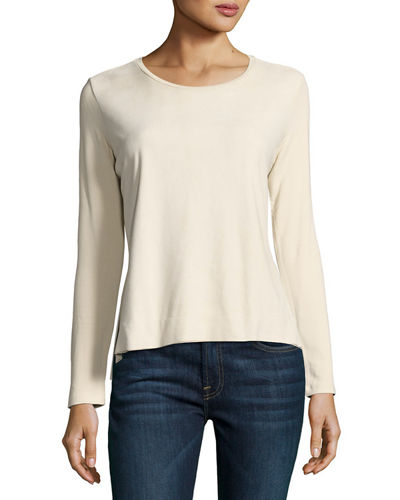 Long-Sleeve Suede & French Terry Crewneck Top