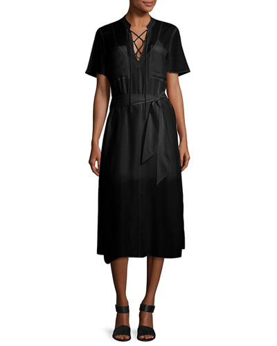 Lace-Up Midi Shirtdress