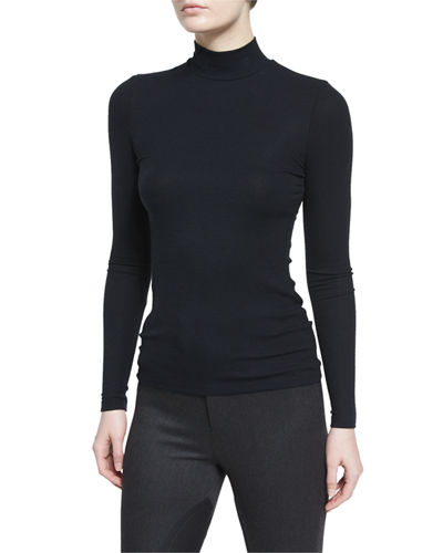 Long-Sleeve Mock-Neck Stretch Jersey Top