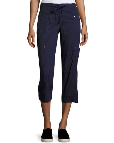 Eileen Fisher Drawstring Cropped Cargo Pants