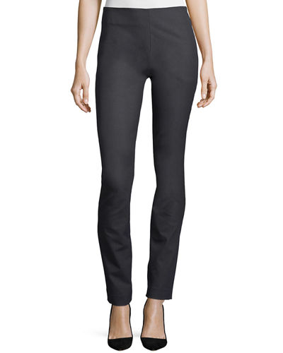 Side-Zip Slim Stretch Pants