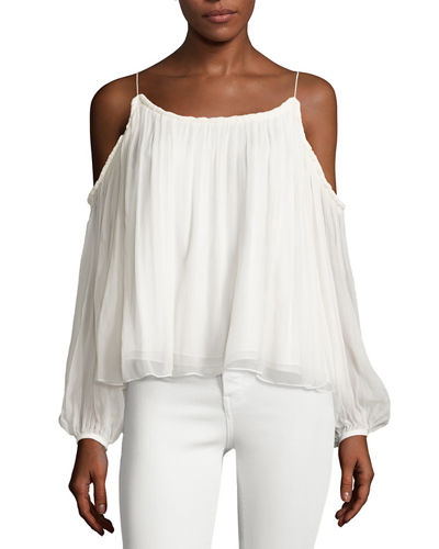 Maylin Cold-Shoulder Flowy Blouse