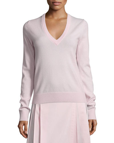 V-Neck Slash-Back Cashmere Sweater
