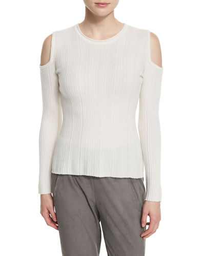 Elie Tahari Marlah Ribbed Cold-Shoulder Sweater