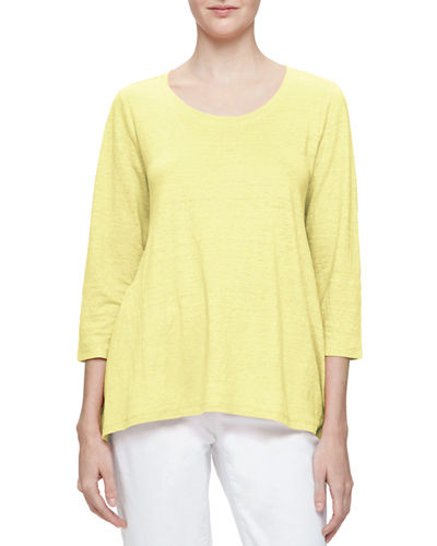 Eileen Fisher 3/4-Sleeve Scoop-Neck Organic Linen Tee, Petite