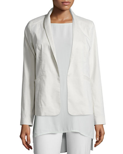 Polished Ramie Stretch Jacket, Bone, Petite
