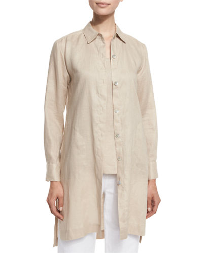 Go Silk Long-Sleeve Linen Duster Coat, Plus Size