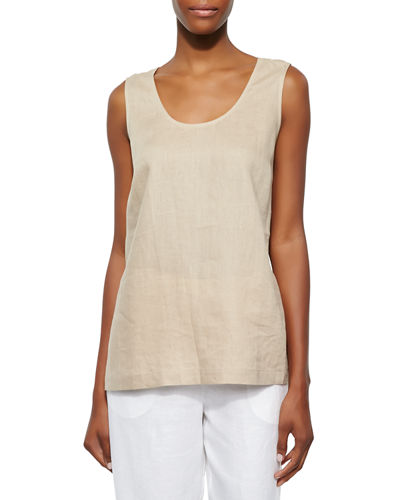 Linen Scoop-Neck Tank, Plus Size