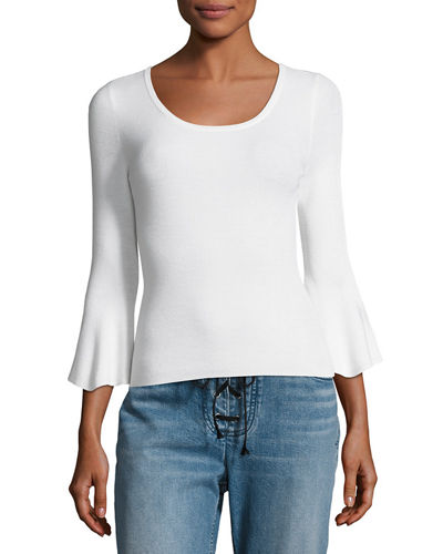 Tadeo Bell-Sleeve Fitted Top